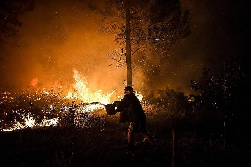 A villager doing his bit to douse raging flames in Macao, in central Portugal, yesterday. Firefighters had been deployed to tackle three fires in the mountainous and heavily forested Castelo Branco region, 225km north-east of the capital Lisbon. PHOT