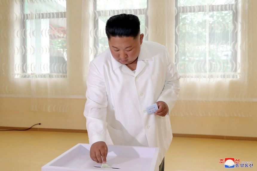 North Korean leader Kim Jong Un casting his vote in an election for deputies for local assemblies in Pyongyang.