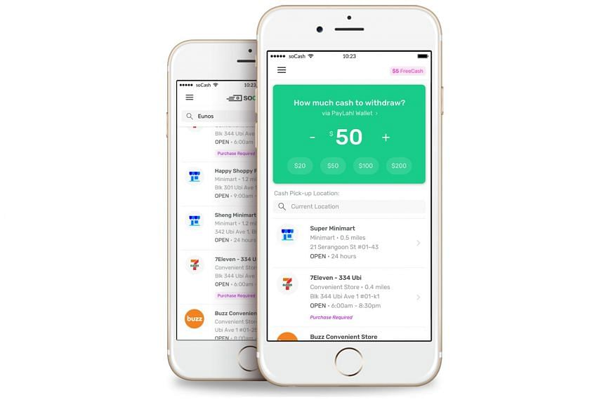soCash's mobile app turns shops into ATM alternatives, allowing users to withdraw cash or make loan applications at the checkout.
