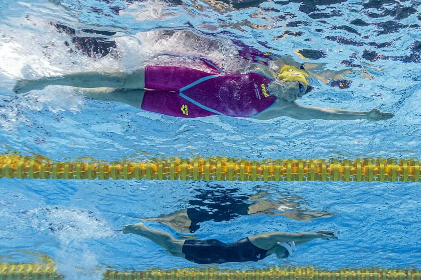 Cate Campbell (top) and Margaret MacNeil competing in the women's 4x100m Freestyle Relay Final during the Swimming events at the Gwangju 2019 Fina World Championships, in South Korea, on July 21, 2019.