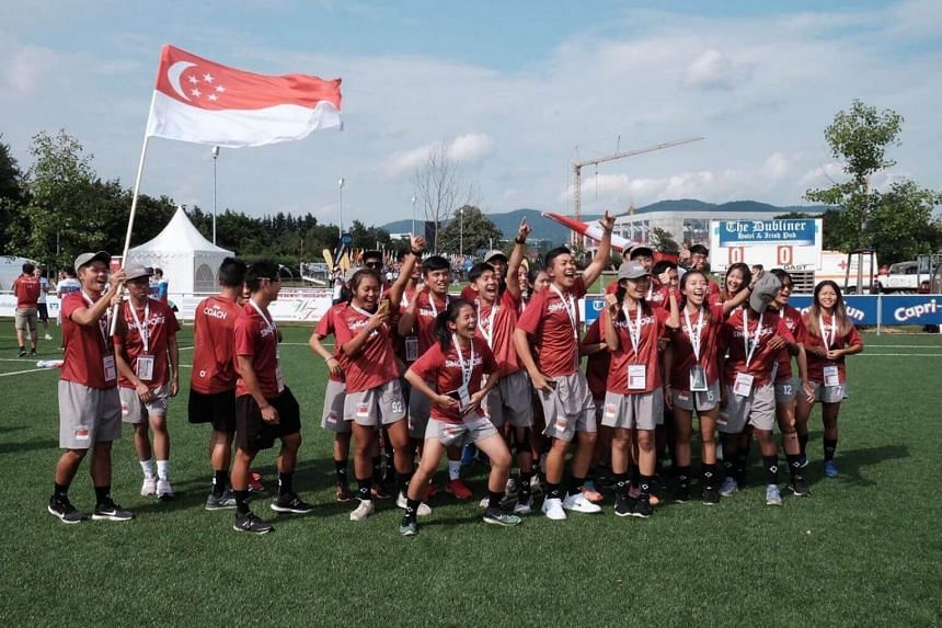 Singapore's ultimate frisbee team beat Latvia 15-12 to claim the bronze medal.