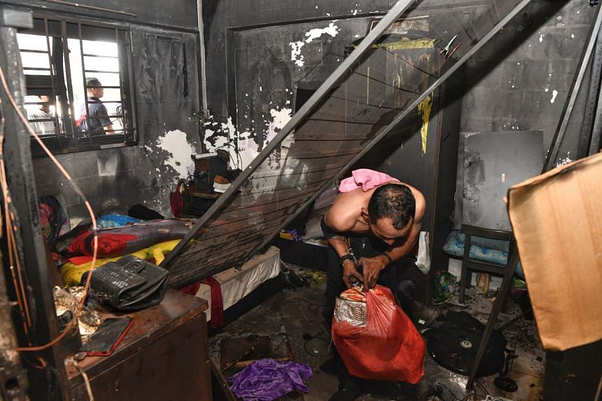 The fire was raging when firefighters arrived and the contents of the entire unit were affected.