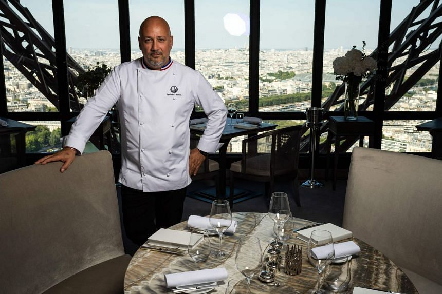 A new-look Jules Verne and menu greeted diners over the weekend as a consortium by chefs Frederic Anton (above) and Thierry Marx took over the management of the restaurant (above) on the second level of the Eiffel Tower.