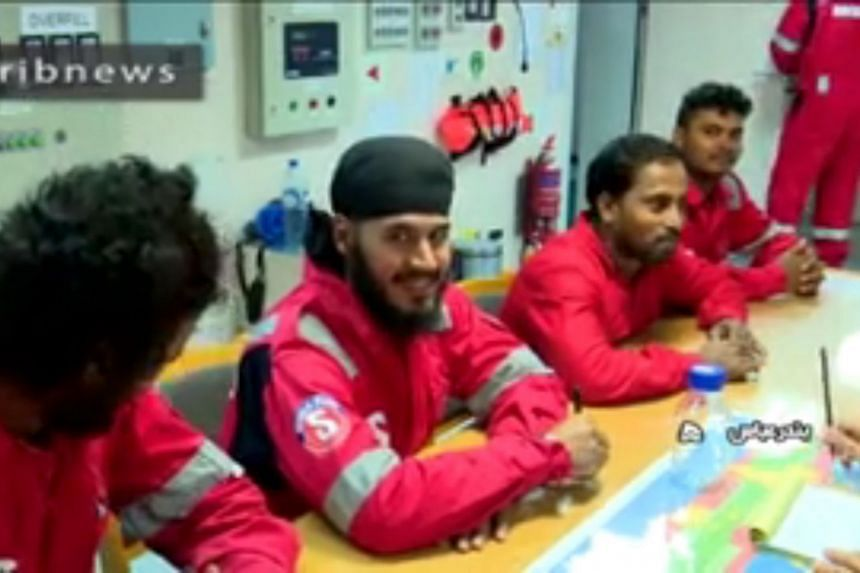 An Iranian handout photo shows crew members of the British-flagged tanker Stena Impero, seized by Iran in the Strait of Hormuz.
