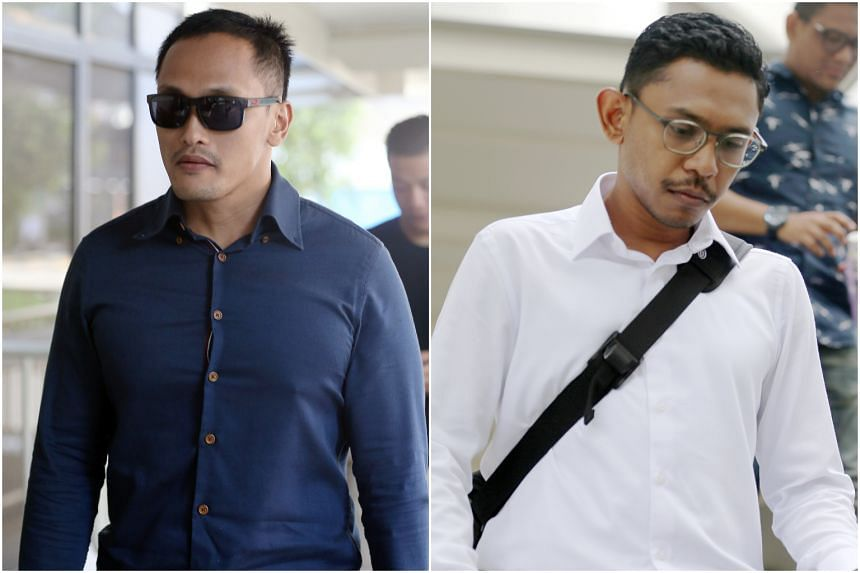 Muhammad Nur Fatwa Mahmood (left), a staff sergeant, and Mohamed Farid Mohd Saleh, a first warrant officer, are seen in the video disagreeing on whether the latter had given the instruction for the push.