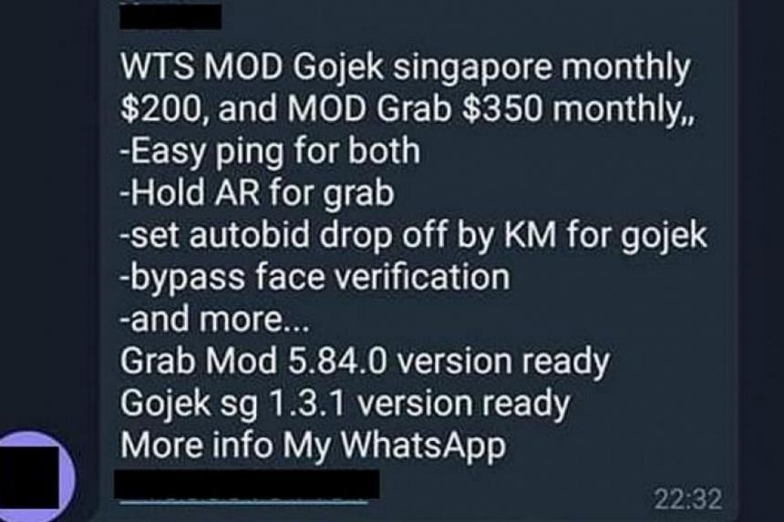 Modified versions of ride-hailing apps such as Grab and Gojek are being hawked online and through messaging apps.
