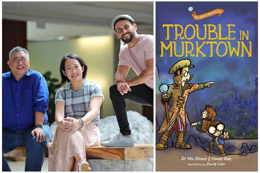 (From far left) Artist David Liew, media consultant Hwee Goh and eye expert Mohamed Dirani are behind the best-selling children's book series, The Plano Adventures ($12.01 a book from major bookstores).