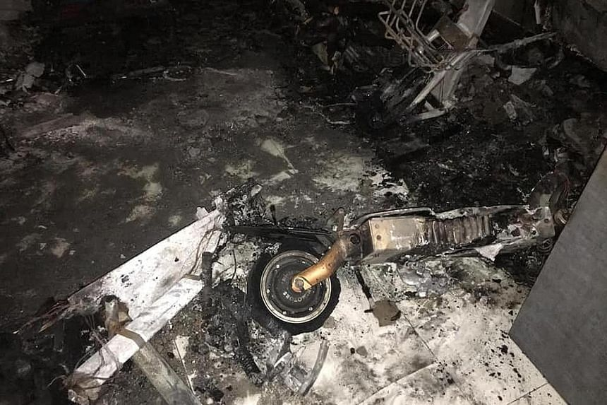The blaze at a Bukit Batok flat last Thursday was linked to three e-scooters found burnt in the unit. Home owner Goh Keng Soon was pulled out of the burning flat, and died two days later in hospital. PHOTO: MURALI PILLAI/FACEBOOK