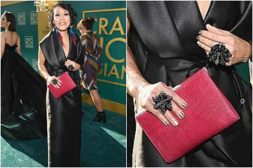 Heng Kang Yong's accessories, made from packaging plastic, were worn by Singaporean actress Tan Kheng Hua (above) at the Los Angeles premiere of the 2018 film, Crazy Rich Asians.