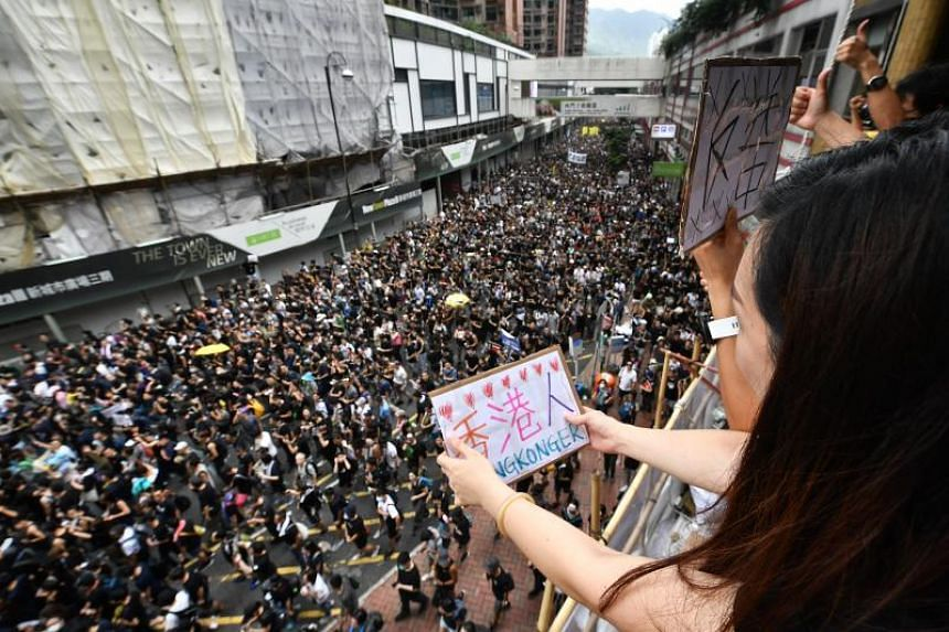 Protesters in Hong Kong's Sha Tin District on July 14, 2019.