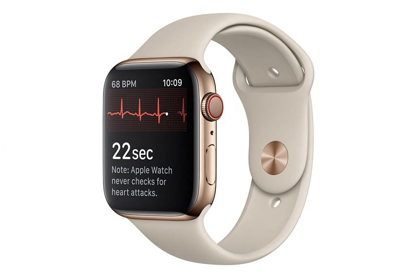 To get an electrocardiogram reading, the wearer needs to stay still and touch the Apple Watch Series 4's digital crown for 30 seconds.