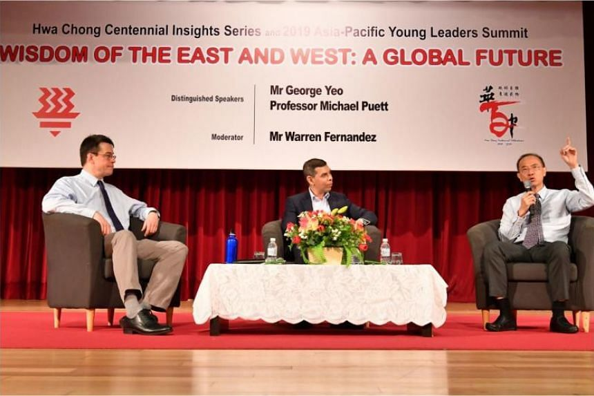 (From left) Professor Michael Puett, Walter C. Klein Professor of Chinese History and Anthropology at Harvard University, Mr Warren Fernandez, editor of The Straits Times and editor-in-chief of Singapore Press Holdings' English/ Malay/Tamil Media G