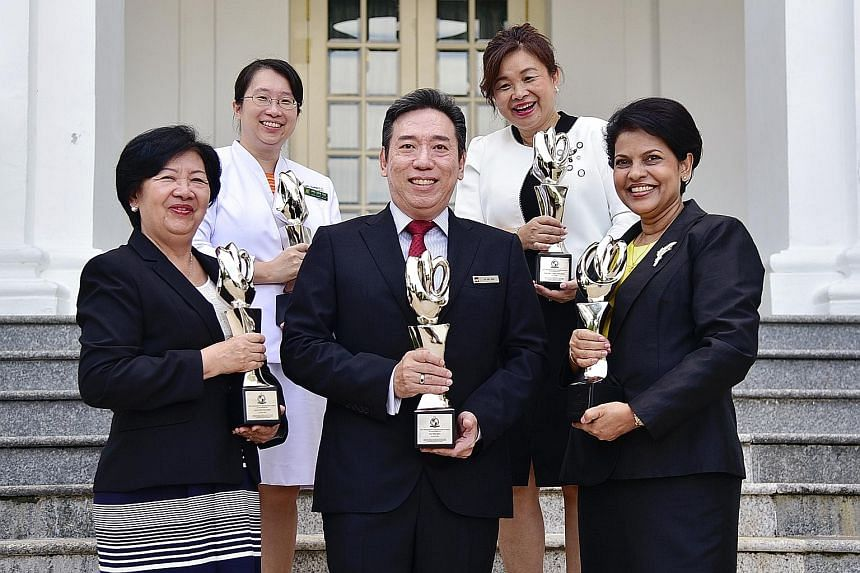 (Clockwise from left, back row) Ms Ang Shin Yuh, deputy director of nursing quality research and transformation at Singapore General Hospital; Ms Samantha Ong, chief nurse at the Institute of Mental Health; Ms Jancy Mathews, chief nurse at the Nation