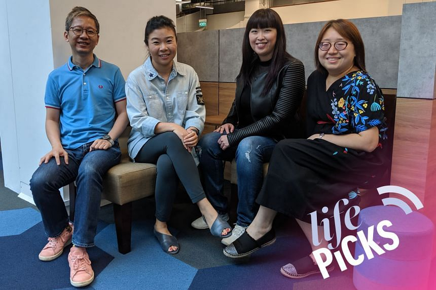 Life Picks host Melissa Sim (second from left) chats with colleagues Boon Chan (left), Hedy Khoo (second from right) and Ong Sor Fern (right) about the best things to do in Singapore from July 25-Aug 8.