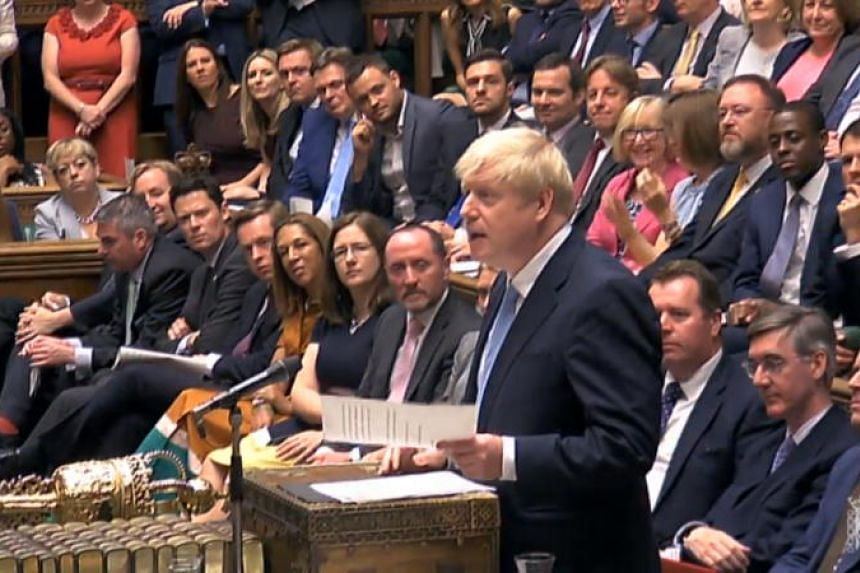 British Prime Minister Boris Johnson gives his inaugural speech at the House of Commons parliament in London on July 25, 2019.