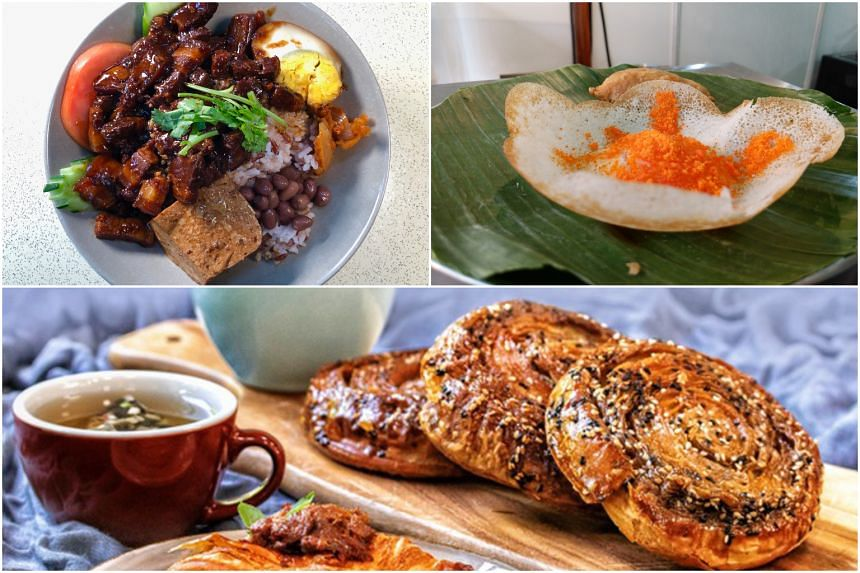(Clockwise from left:) Braised Pork Rice at coffeeshop stall Grandma Braised Pork Rice, appam at The Great Indian Food Fest and the new items exclusive to Tiong Bahru Bakery's new Funan outlet.