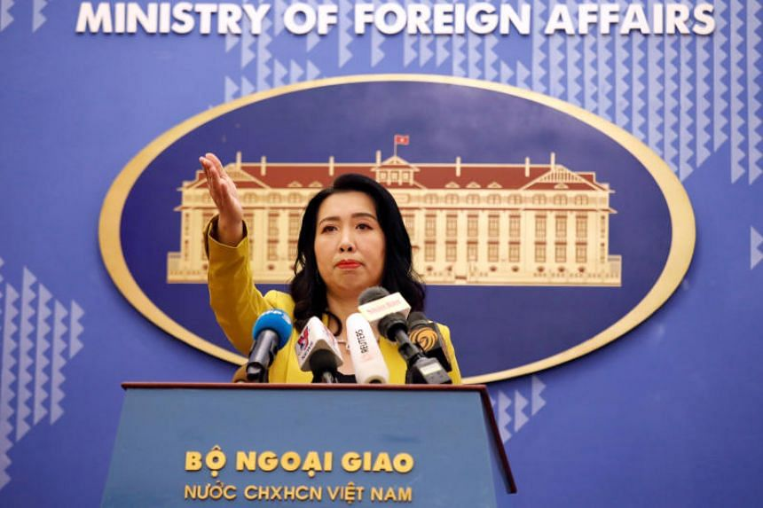 Vietnamese Foreign Ministry spokesman Le Thi Thu Hang at a news conference in Hanoi, on July 25, 2019.