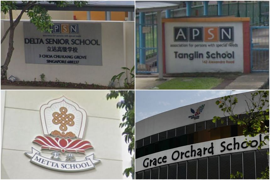The four schools are the Association for Persons with Special Needs (APSN) Delta Senior School, APSN Tanglin School, Grace Orchard School and Metta School.