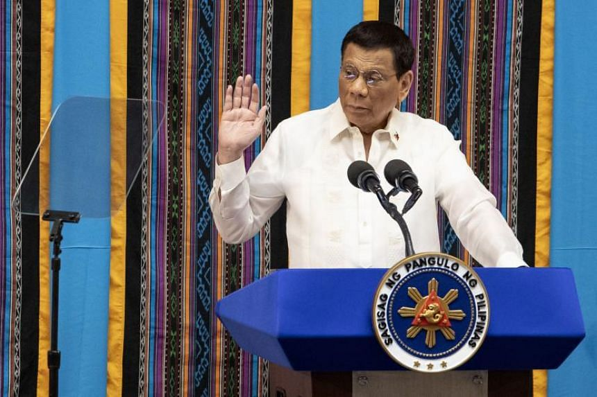 Philippine President Rodrigo Duterte at his state of the nation address at Congress in Manila on July 22, 2019.