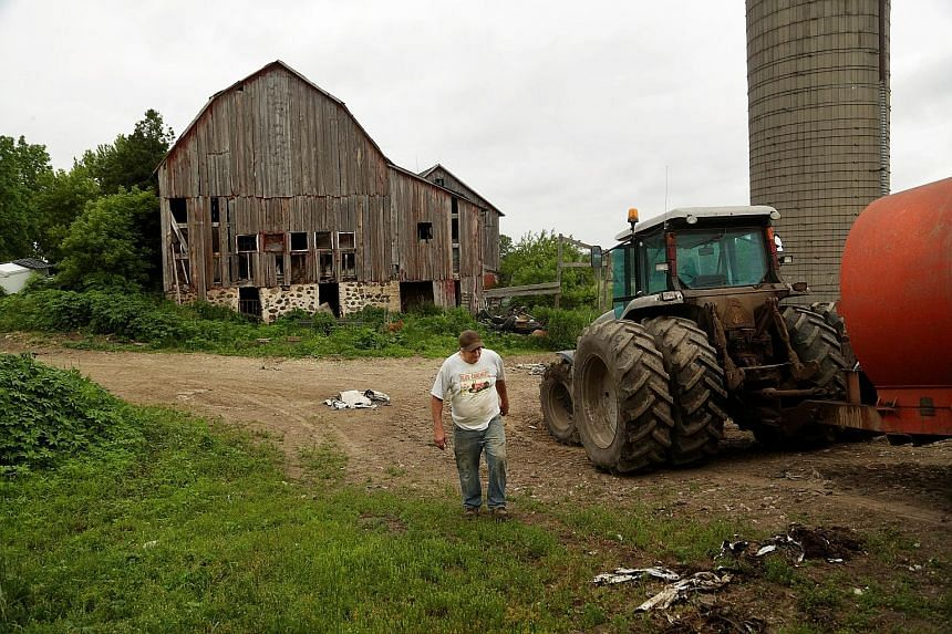 American farm income dropped 16 per cent last year to US$63 billion, about half the level it was as recently as 2013.