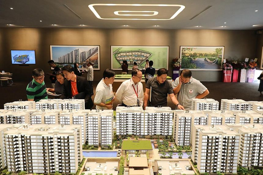 Visitors at the preview launch of Treasure At Tampines in March. Analysts say the market performance in the second half of this year will depend on the magnitude of the economic slowdown and how sentiments are affected.