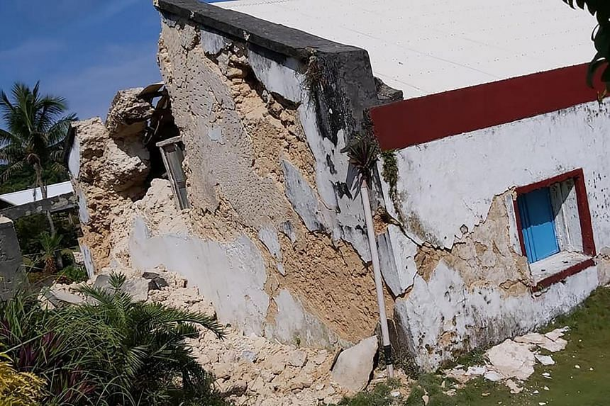 The damage made to the Sta Maria de Mayan Church after a pair of strong earthquakes of magnitude 5.4 and 5.9 struck the region in Itbayat on Batanes island, on July 27, 2019.