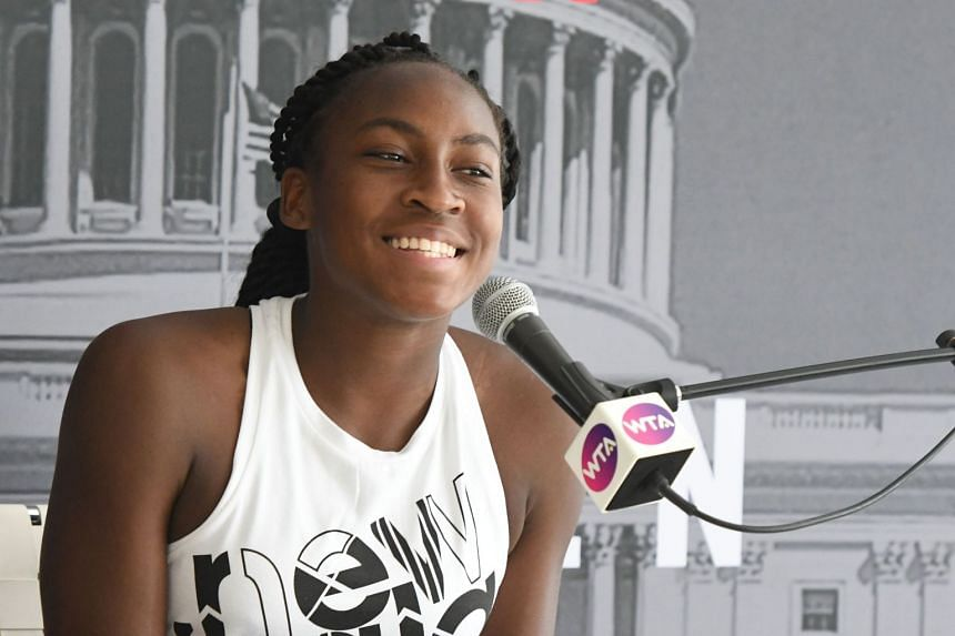 Coco Gauff addresses the media during the Citi Open preview in Washington.