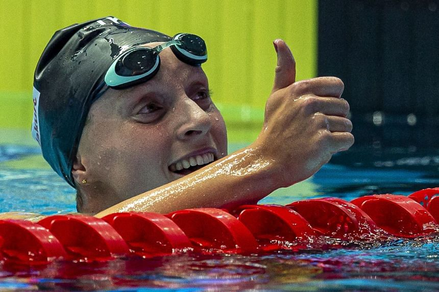 Ledecky reacts after winning in the women's 800m freestyle final.