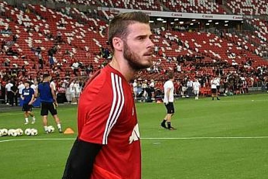 Manchester United goalkeeper David de Gea during a training session at the Singapore National Stadium last week ahead of the International Champions Cup match against Inter Milan.
