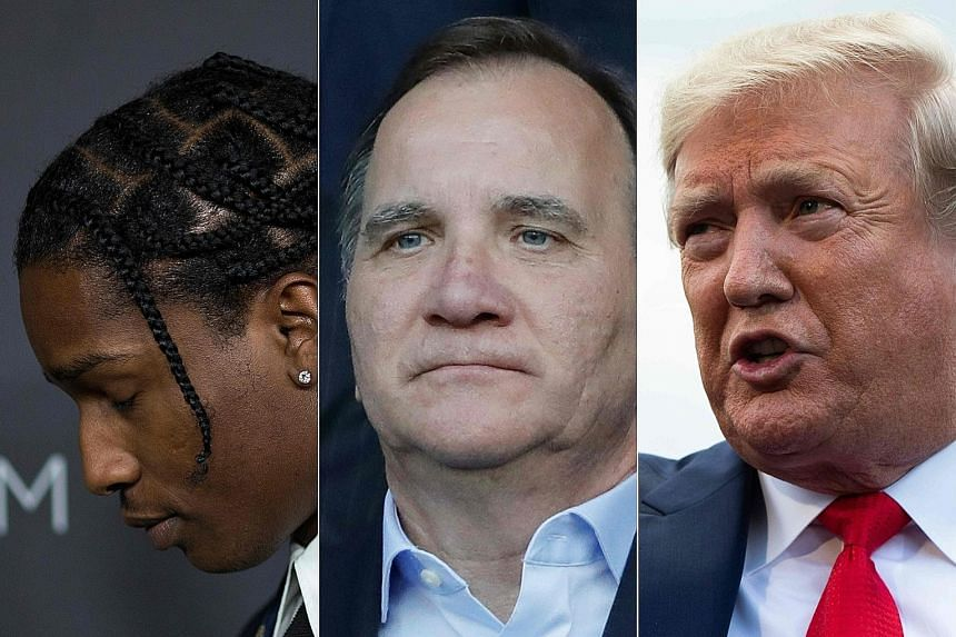 US President Donald Trump has urged Swedish Prime Minister Stefan Lofven (below) to free A$AP Rocky (left).