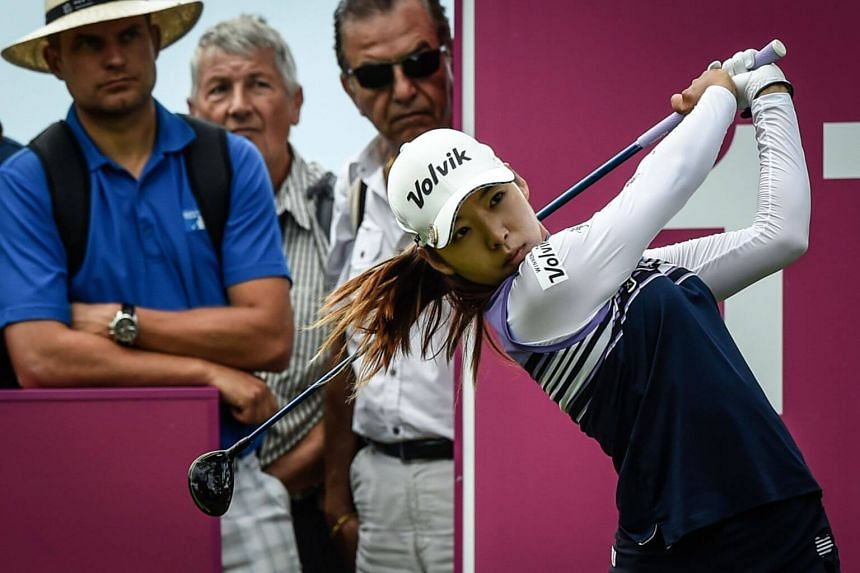 Lee Mi-hyang competes during the Evian golf Championships in Evian-les-Bains, France, on July 27, 2019.