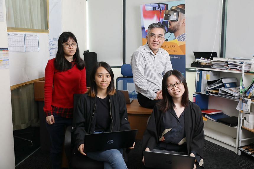 Eldo Consulting director Daniel Ong with three of his employees, (from left) Republic Polytechnic graduates Crystal Chua, Nurul Faiqah and Yeo Hui Sui. All three are part of the SkillsFuture Work-Study Post-Diploma programme.