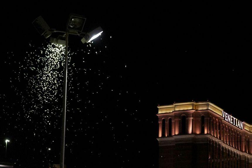Grasshoppers swarm a light a few blocks off the Strip on July 26, 2019 in Las Vegas, Nevada.