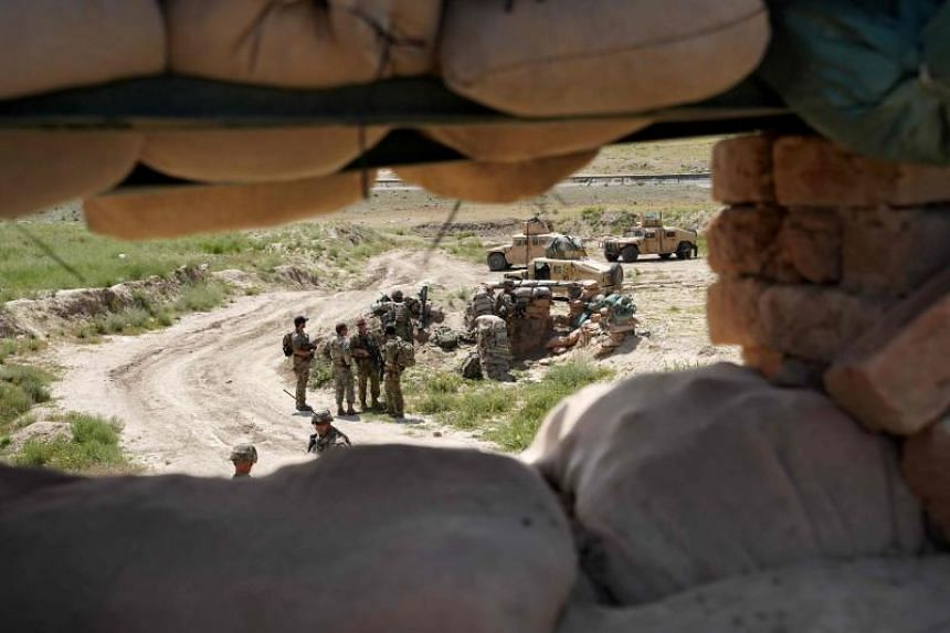 US troops at the Afghan National Army checkpoint in Nerkh district of Wardak province, west of Kabul, on June 6, 2019.