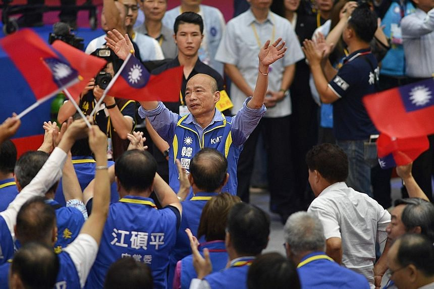 Kaohsiung City Mayor Han Kuo-yu, who favours closer exchanges with China, was nominated as opposition party Kuomintang's presidential candidate at its national congress yesterday.