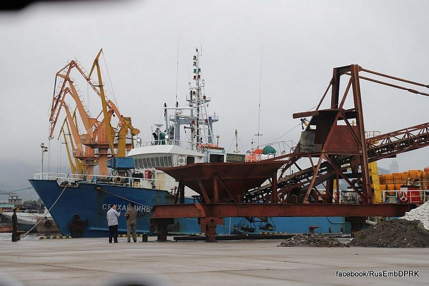 Russian fishing trawler Xianghailin-8 at the North Korean port of Wonsan last Friday, after being seized on July 17 by border guards. It arrived at a South Korean port yesterday.