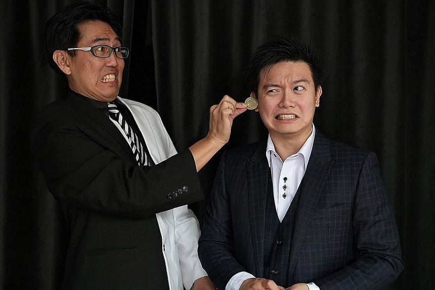 Above: Magicians Wee Kien Meng (left) and Sng Ming Da. Mr Sng and ventriloquist Patrick Wan will perform at a week-long festival in North Korea next April. Right: Mr Wee in Pyongyang, where he performed a series of tricks for children at the Pyongyan