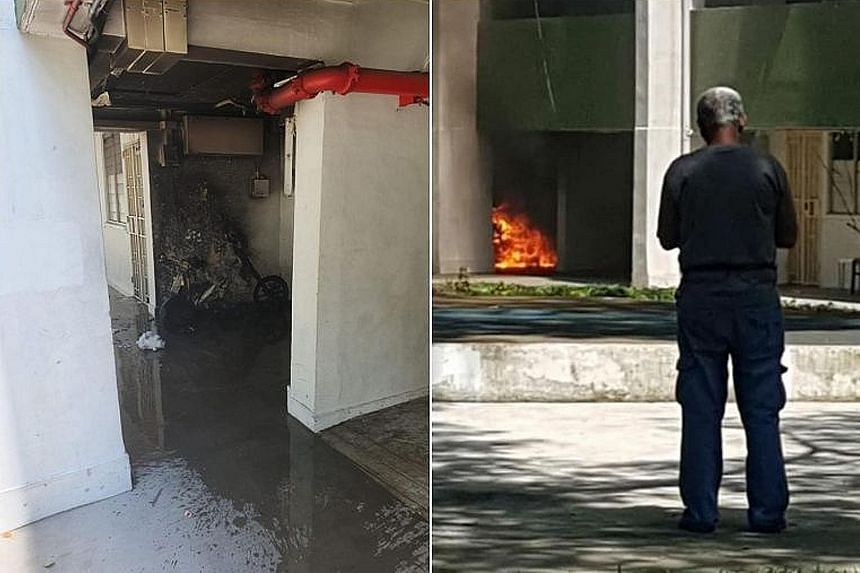 Photos posted on social media show the burnt-out electric bicycle at the void deck, and the flames that had engulfed it.