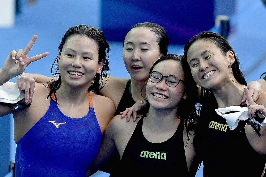 4x200m relay members (from left) Christie Chue, Quah Jing Wen, Gan Ching Hwee and Quah Ting Wen were agonisingly close to Olympic qualification but may now need to go even faster to make it.