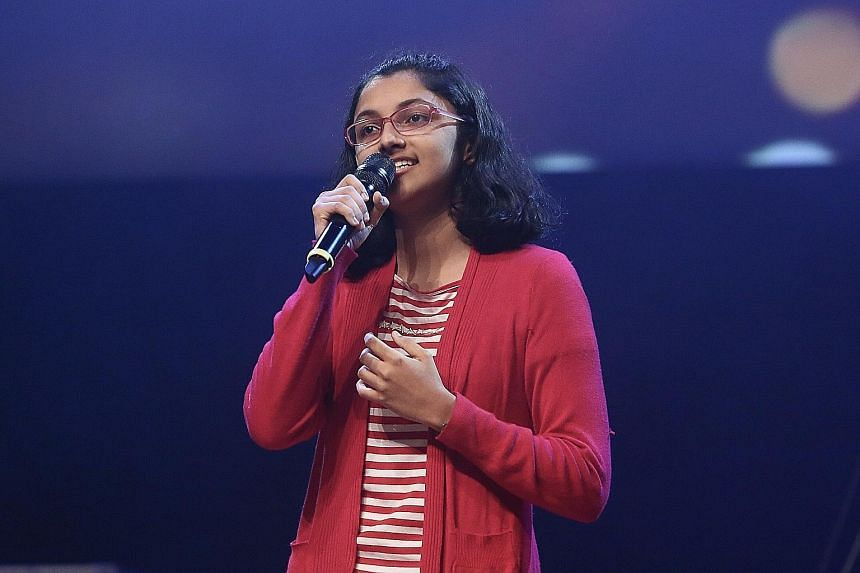 Amritha Devaraj (above) won in the singing (solo) category, while Tan Xiao Xuan won in the songwriting (creative) category.