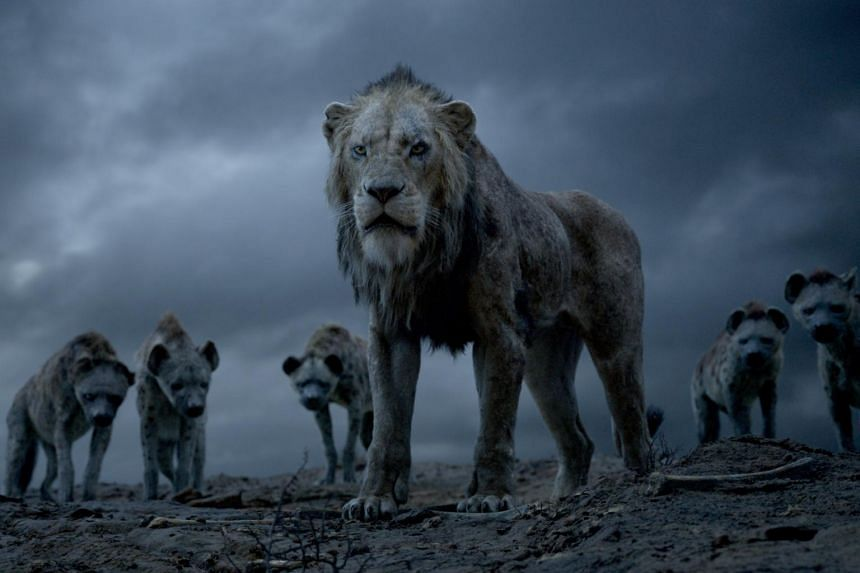 The hyenas and Scar in Disney's remake of The Lion King.