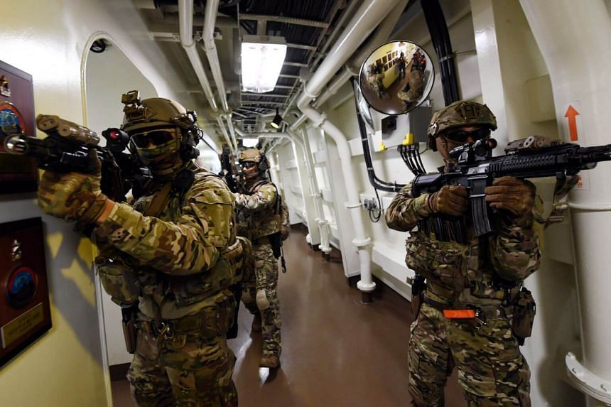 Members of the South Korean Navy's anti-piracy Cheonghae unit during a drill on seas off the country's south-eastern island of Geoje, South Korea, on July 26, 2019.