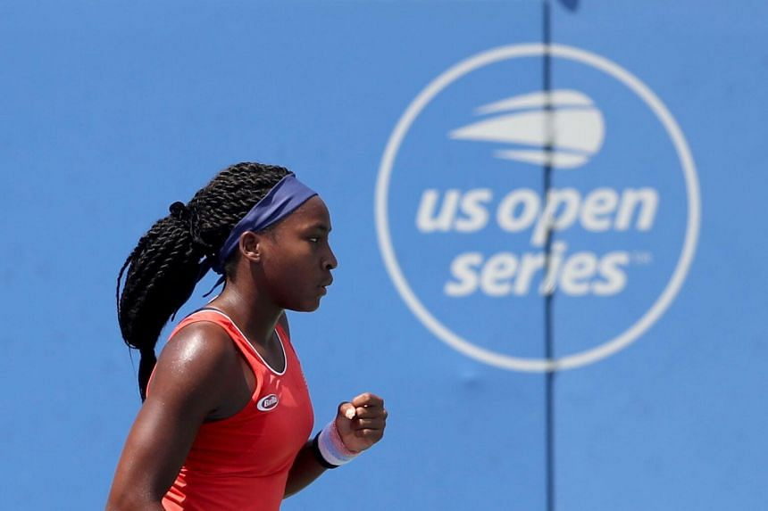 Cori Gauff celebrates a point during qualifying for the Citi Open at Rock Creek Tennis Center  in Washington, on July 28, 2019.