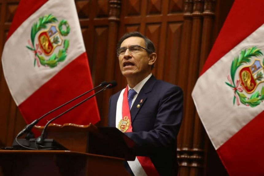 Peruvian President Martin Vizcarra said in a speech to Congress this would involve cutting short his own term in office and that of the legislature.