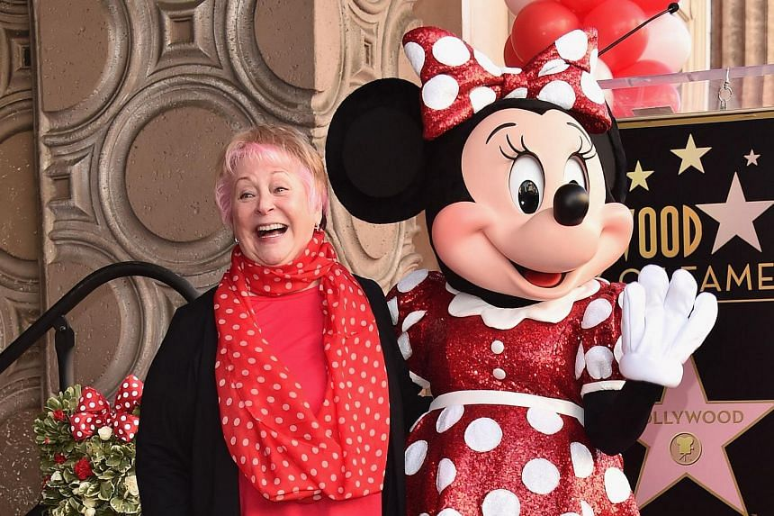 Voice actress Russi Taylor posing for a picture with Minnie Mouse at the Hollywood Walk of Fame on Jan 22, 2018. Ms Taylor died on July 26, 2019.