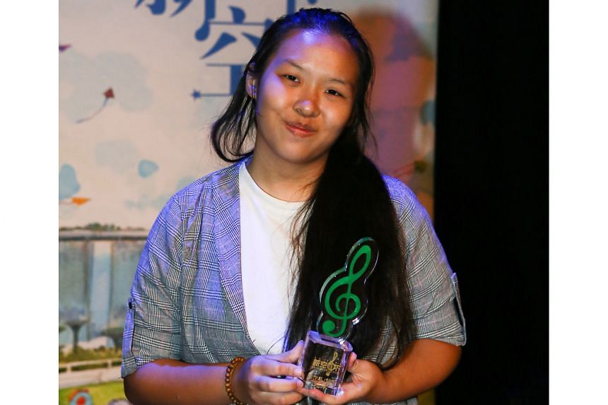 Amritha Devaraj won in the singing (solo) category, while Tan Xiao Xuan (above) won in the songwriting (creative) category.