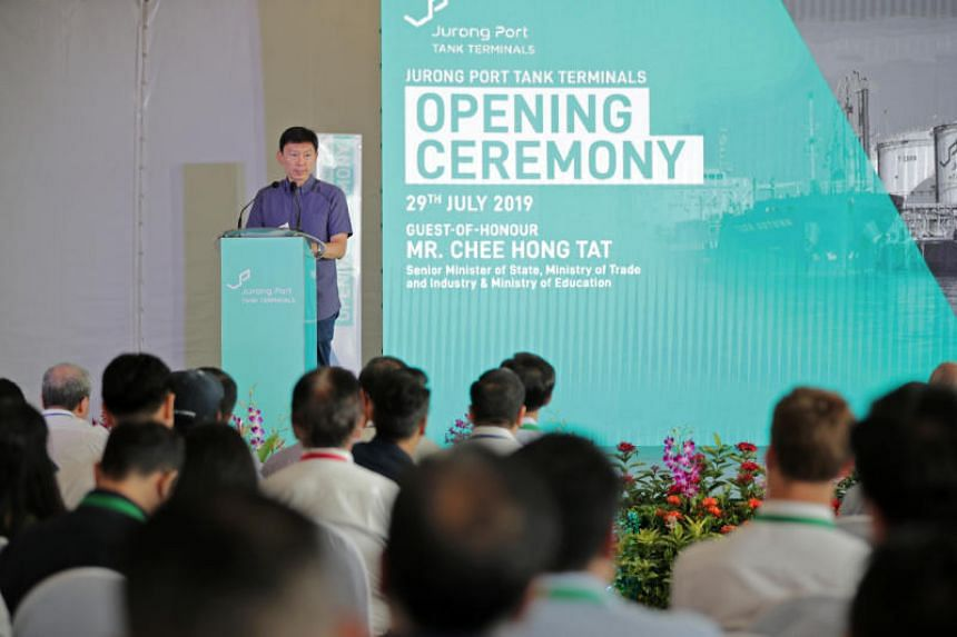 Senior Minister of State for Trade and Industry Chee Hong Tat speaking at the opening of the Jurong Port Tank Terminals on July 29, 2019.