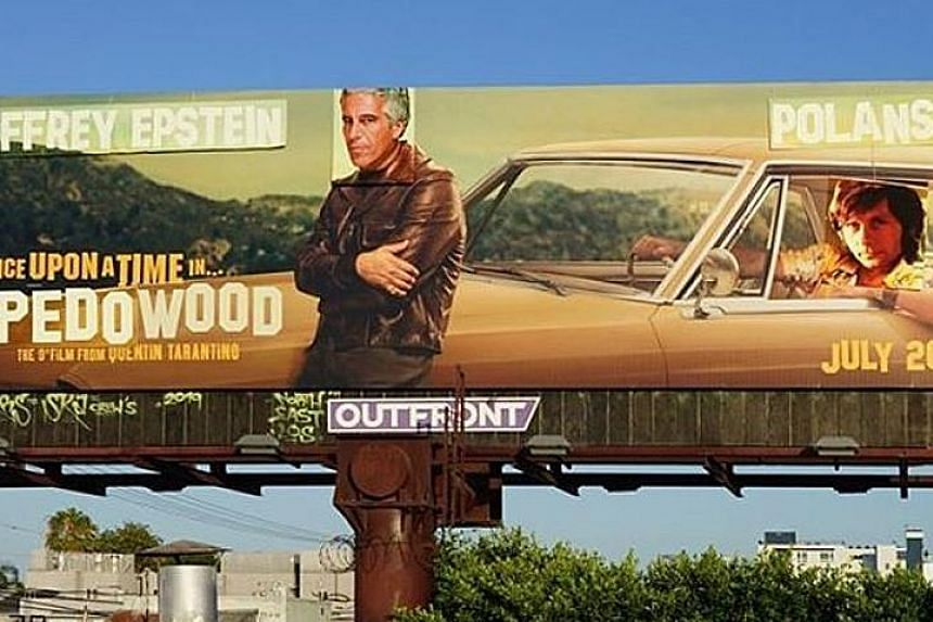 The renamed Once Upon A Time In Hollywood billboard with the faces of financier Jeffrey Epstein and director Roman Polanski.