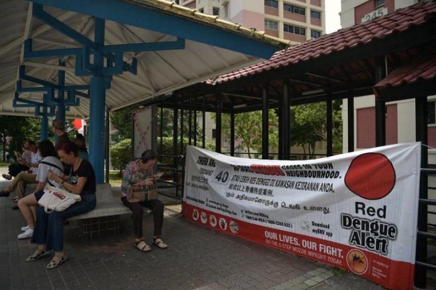 A Red Dengue Alert banner in Bishan Street 22. A total of nine people have died of dengue this year as of July 20.
