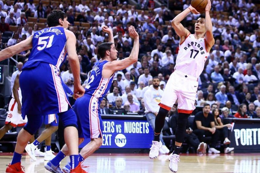 Jeremy Lin (right) of the Toronto Raptors in action during Game Five of the second round of the 2019 NBA Playoffs against Philadelphia 76ers at Scotiabank Arena in Toronto on May 7, 2019.